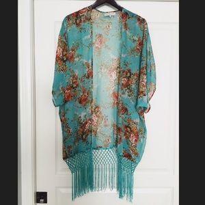 Teal Floral Tassel Bohemian Sheer Kimono